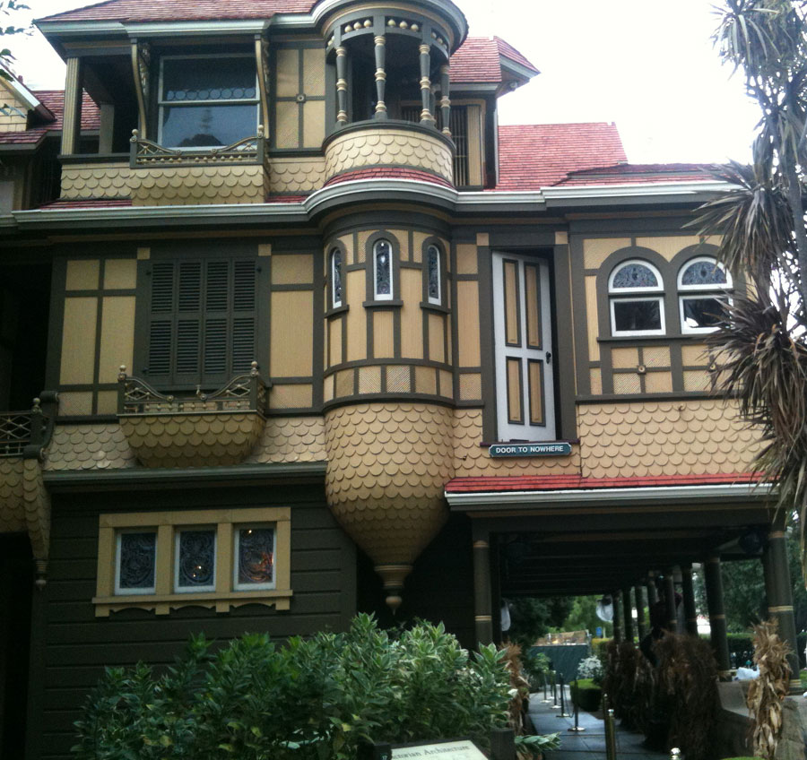 The  Door to Nowhere  (note the sign) on the exterior of the second story & Weird History at the Winchester Mystery House | Ellen Henderson
